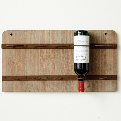Wood & Metal Wall Wine Rack