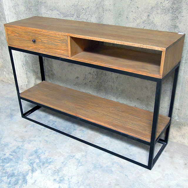 wood and metal console table - Metal Console Table