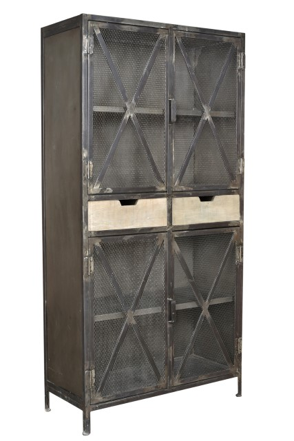 Iron And Wood Four Door Cabinet - Nadeau Dallas