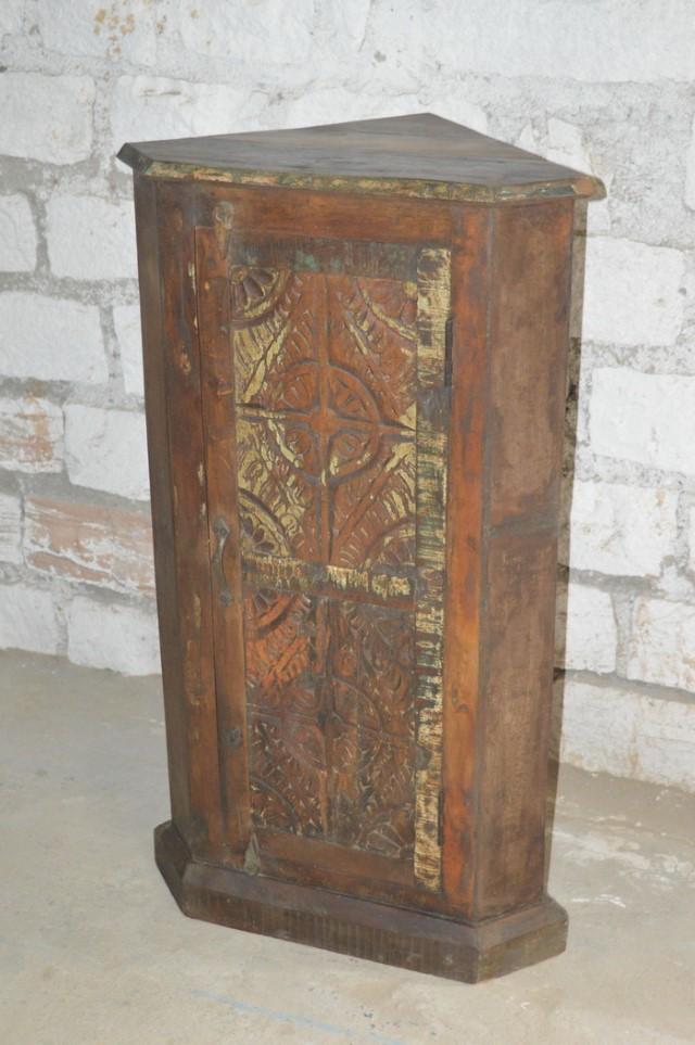 Delicieux Reclaimed Wood Carved Corner Cabinet