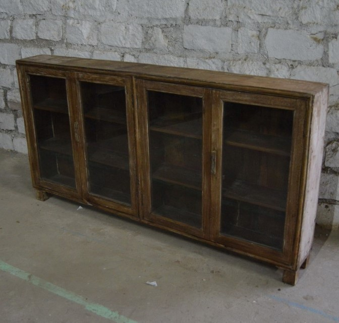 Wooden 4 Glass Door Sideboard As Is