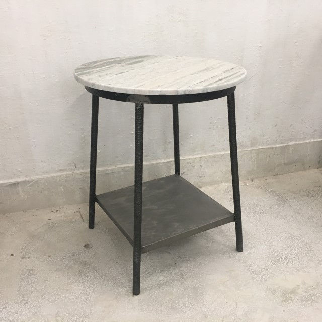 Round Side Table With Shelf And Marble Top