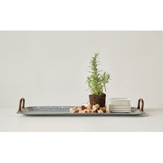 galvanized metal table galvanized metal tray with copper finish handles nadeau pittsburgh