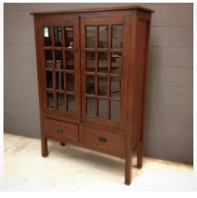 Arts and crafts glass cabinet with two drawers nadeau for Arts and crafts storage cabinet