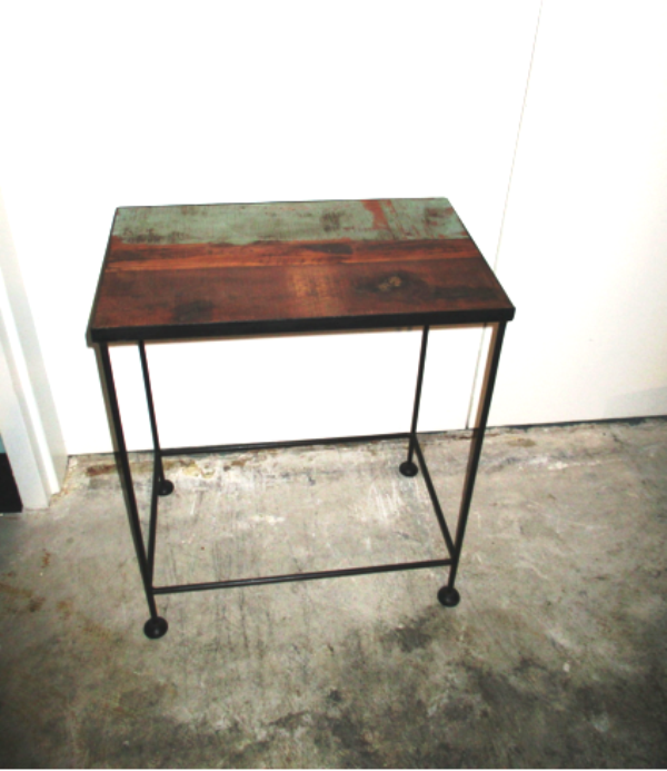 Iron and wood side table nadeau alexandria for Iron and wood side table