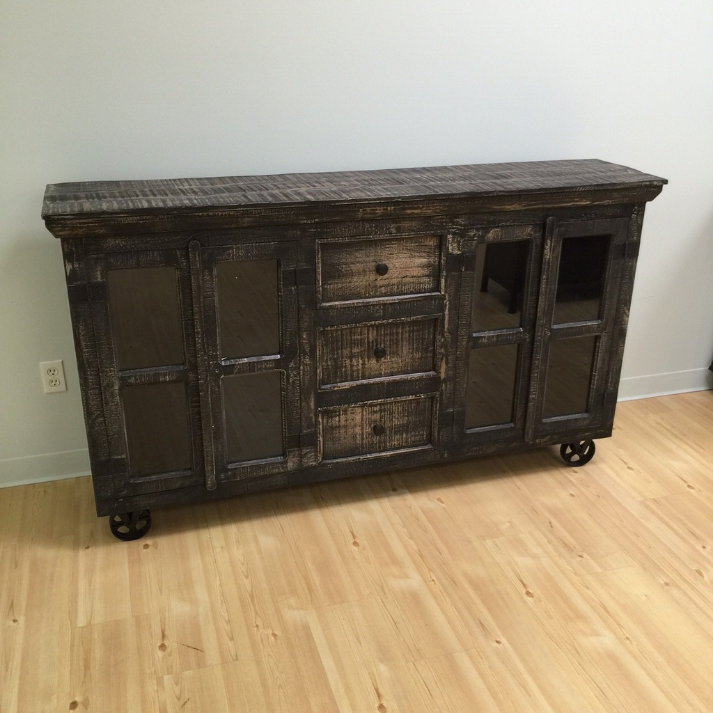 Industrial Buffet With Glass Doors And Metal Accents Nadeau  # Buffet Metal Rouge