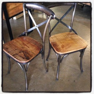 X Back Metal Chair With Wood Seat