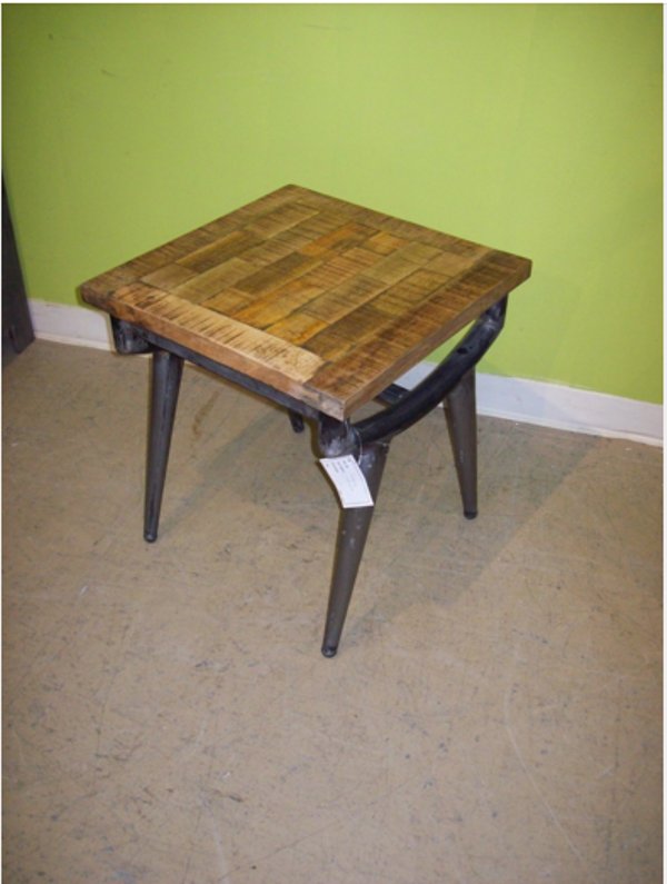 Iron wood side table nadeau alexandria for Iron and wood side table