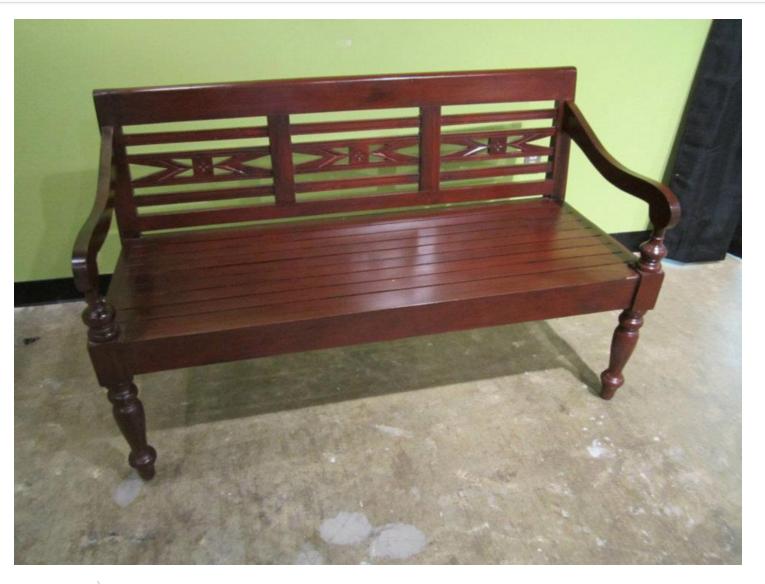 Three Seat Mahogany Bench