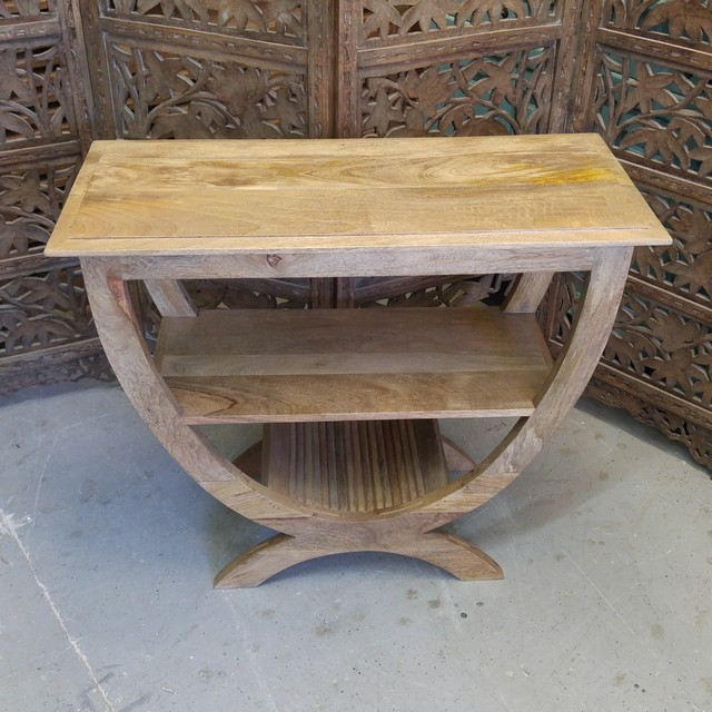 half round table with shelf