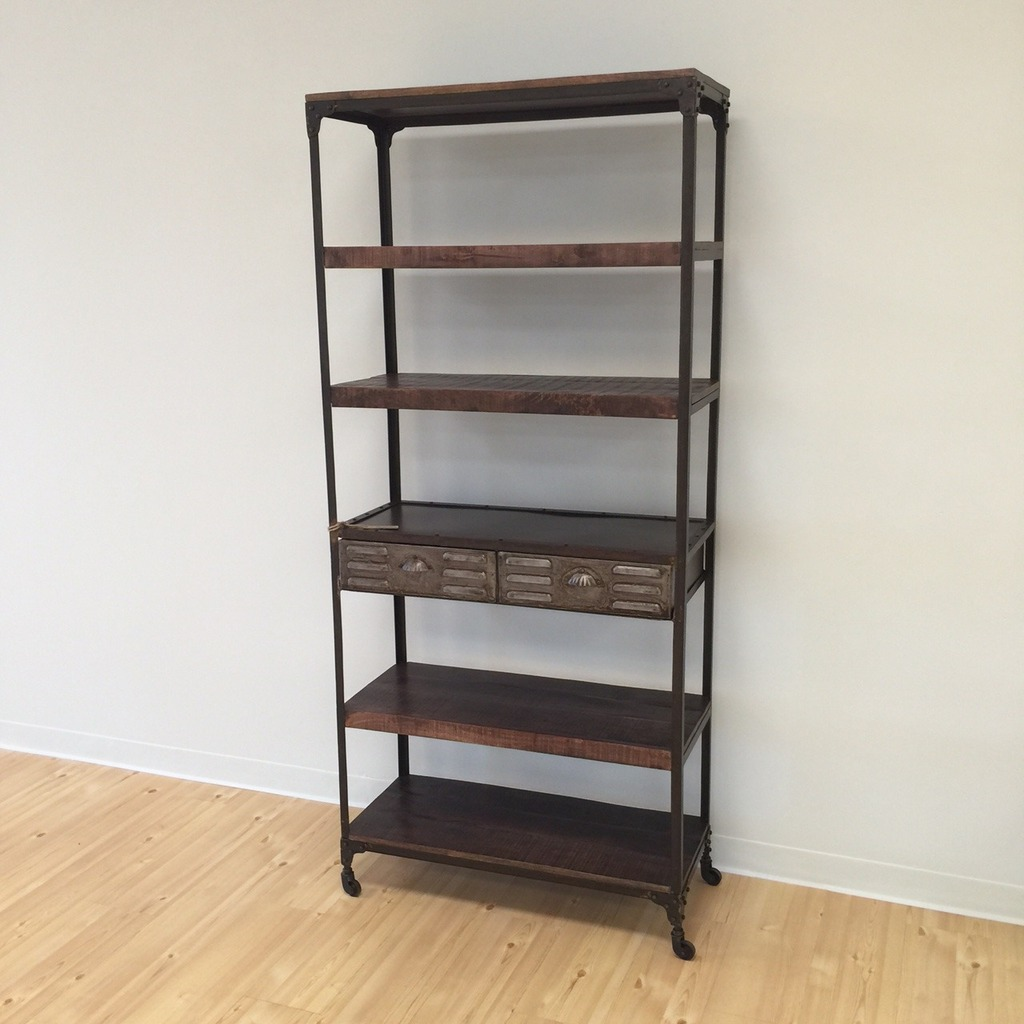 Iron And Wood Bookcase With Two Drawers on nadeau furniture console