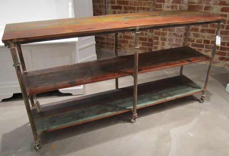 Iron And Wood Console Table With Shelf Nadeau Charleston