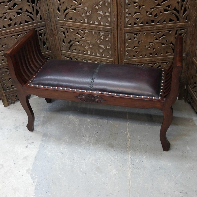 Bench With Leather Seat