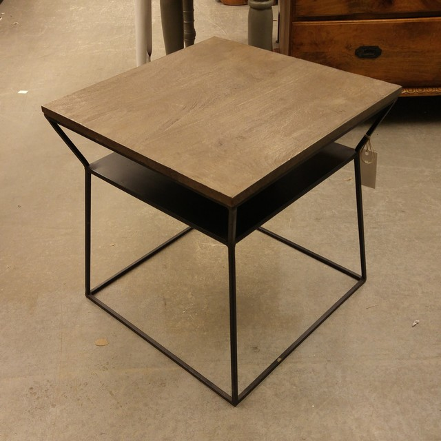 Iron and wood end table nadeau charlotte for Iron and wood side table