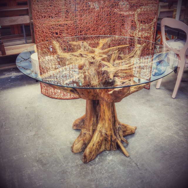 Teak Root Coffee Table Square: Teak Root Table With Glass Top