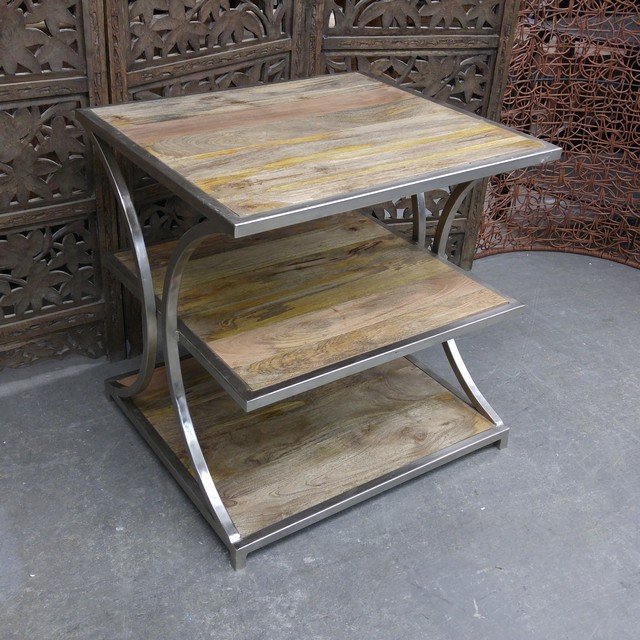 Iron and wood side table nadeau charlotte for Iron and wood side table