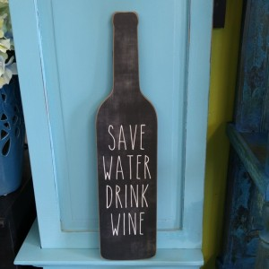 u201csave water drink wineu201d wall decor