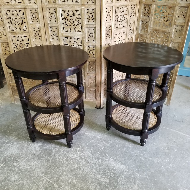 Nice Round Side Table With Shelf