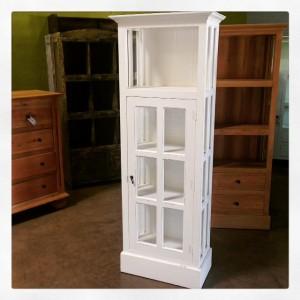 A004 White Glass Bookcase
