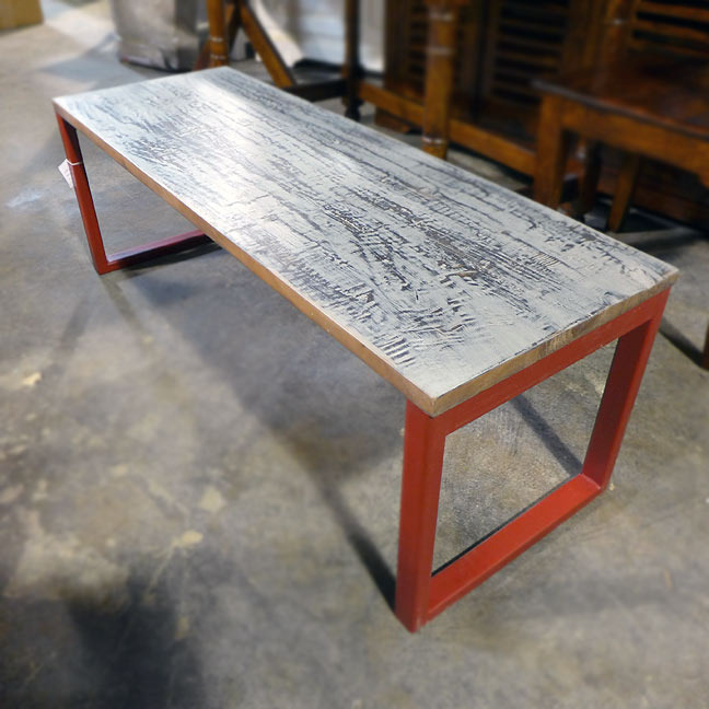 Iron And Wood Bench on Nadeau Furniture Console