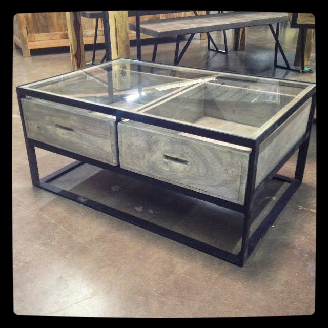 glass top coffee table with drawers nadeau dallas With coffee table with drawers and glass top