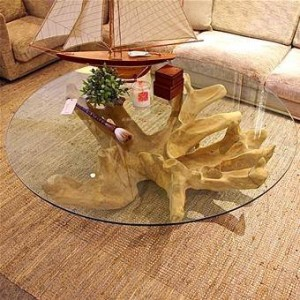 TI604 Teakwood Abstract Coffee Table with Glass