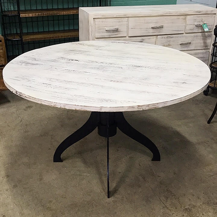 Round Metal And Wood Dining Table