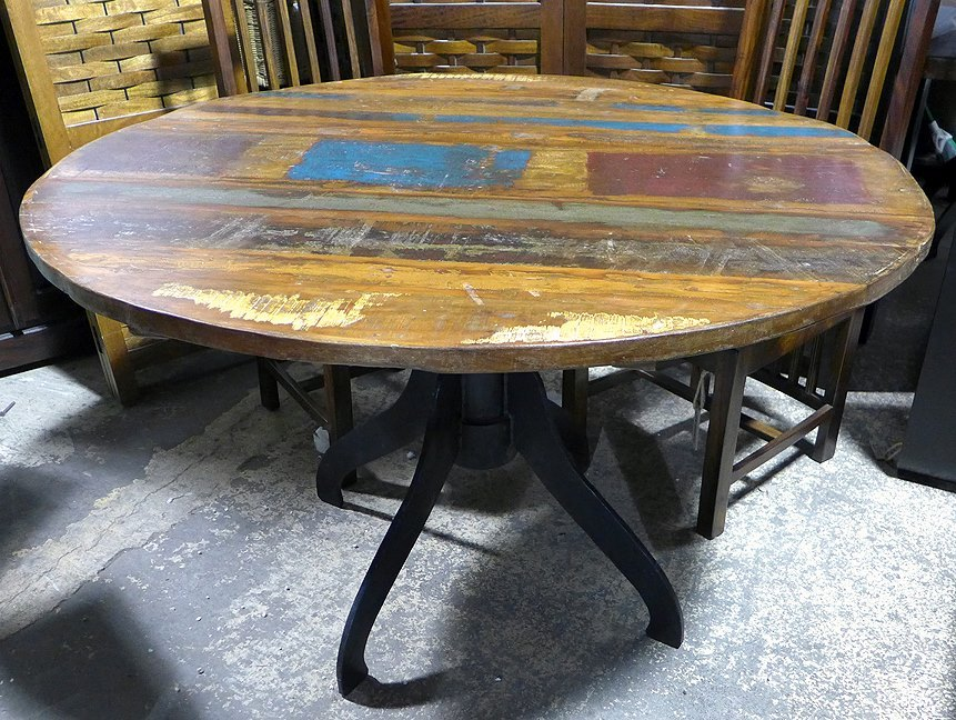 Round Metal And Wood Dining Table Nadeau Dallas