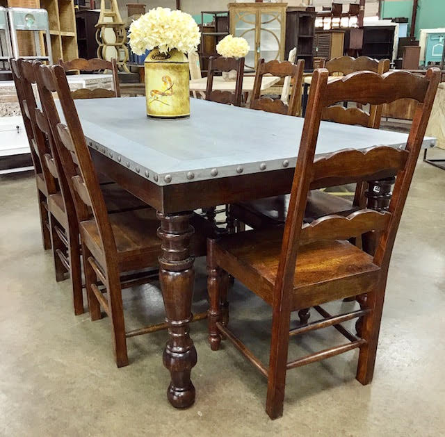 Baluster dining table with zinc top nadeau dallas baluster dining table with zinc top workwithnaturefo