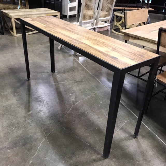 Iron And Teak Console Table
