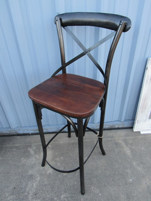 X Back Bar Stool with Wood Seat