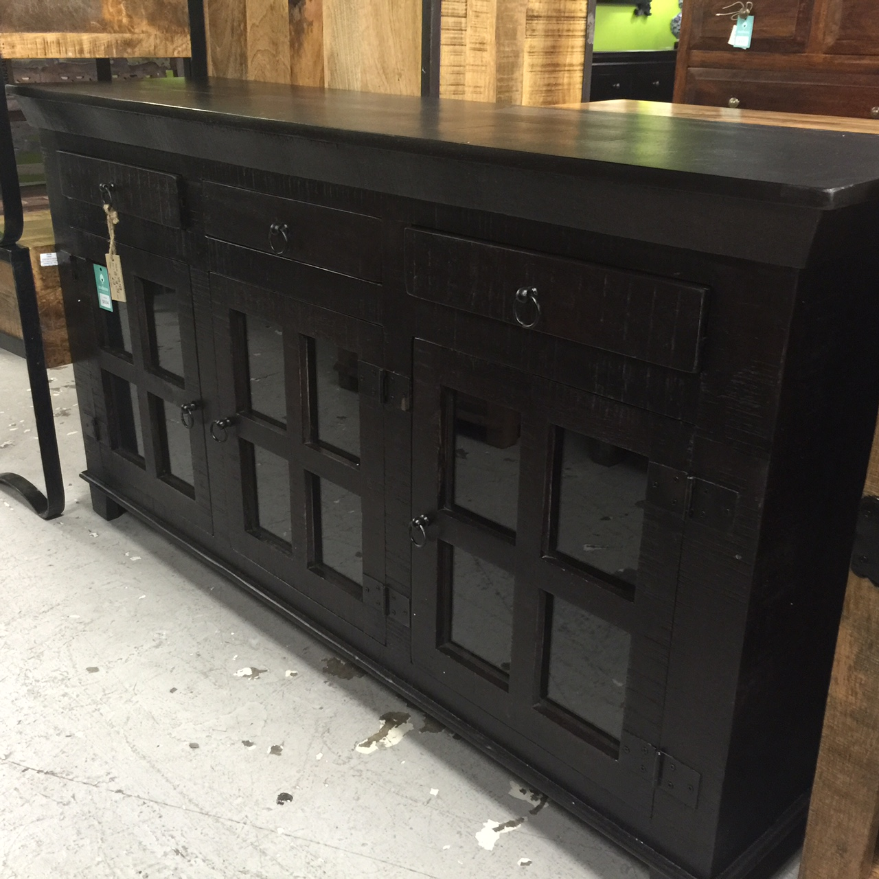 Industrial buffet with glass doors and metal accents nadeau nashville - Buffet metal industriel ...