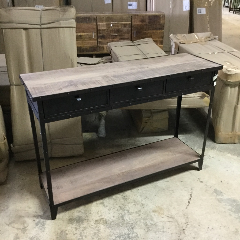 iron console table with wheels nadeau nashville. Black Bedroom Furniture Sets. Home Design Ideas