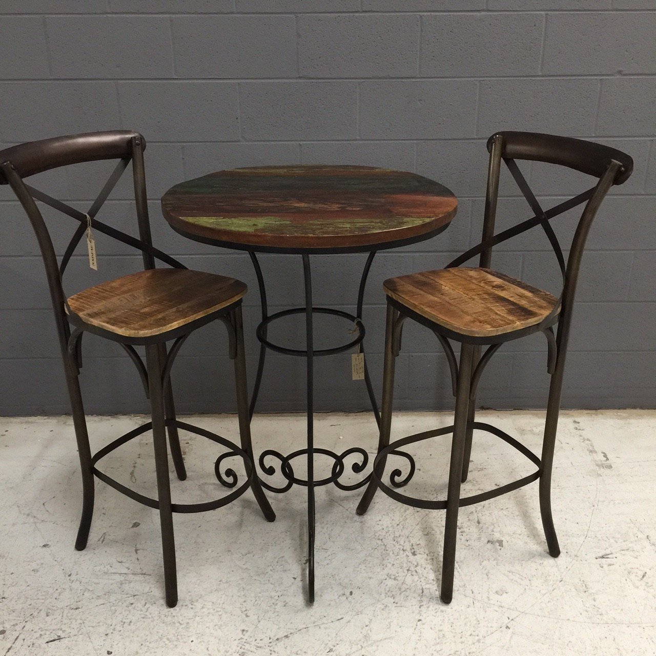 Tall iron and wood table nadeau nashville for Dining table nashville tn