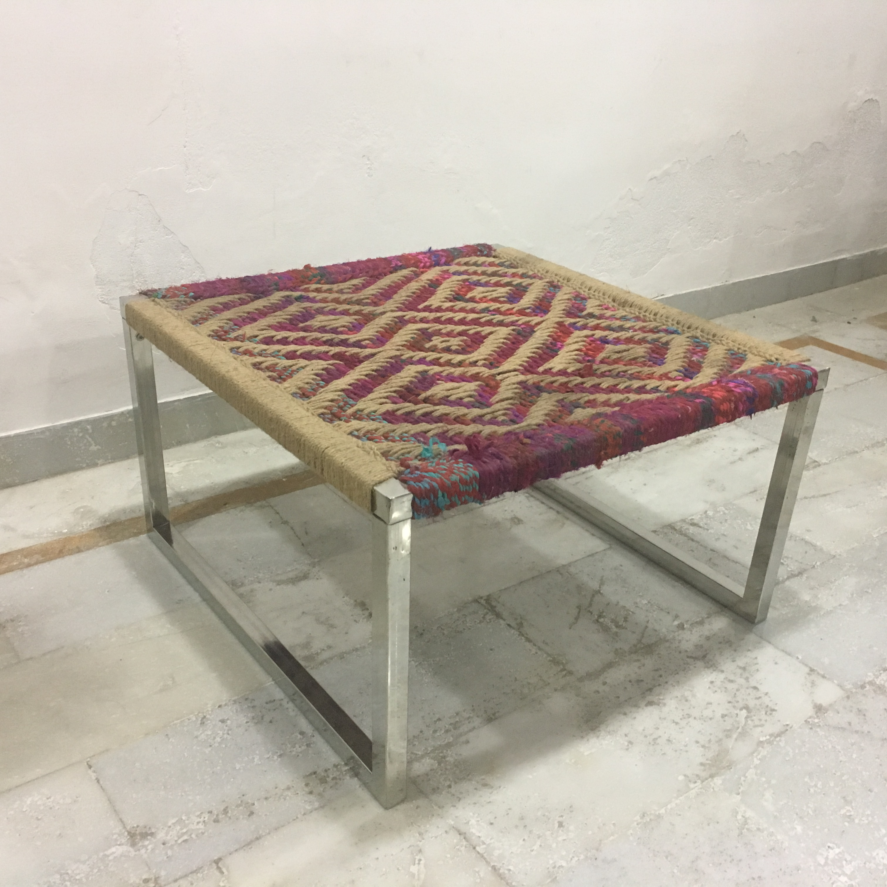 Irong Side Table With Woven Top Nadeau Nashville