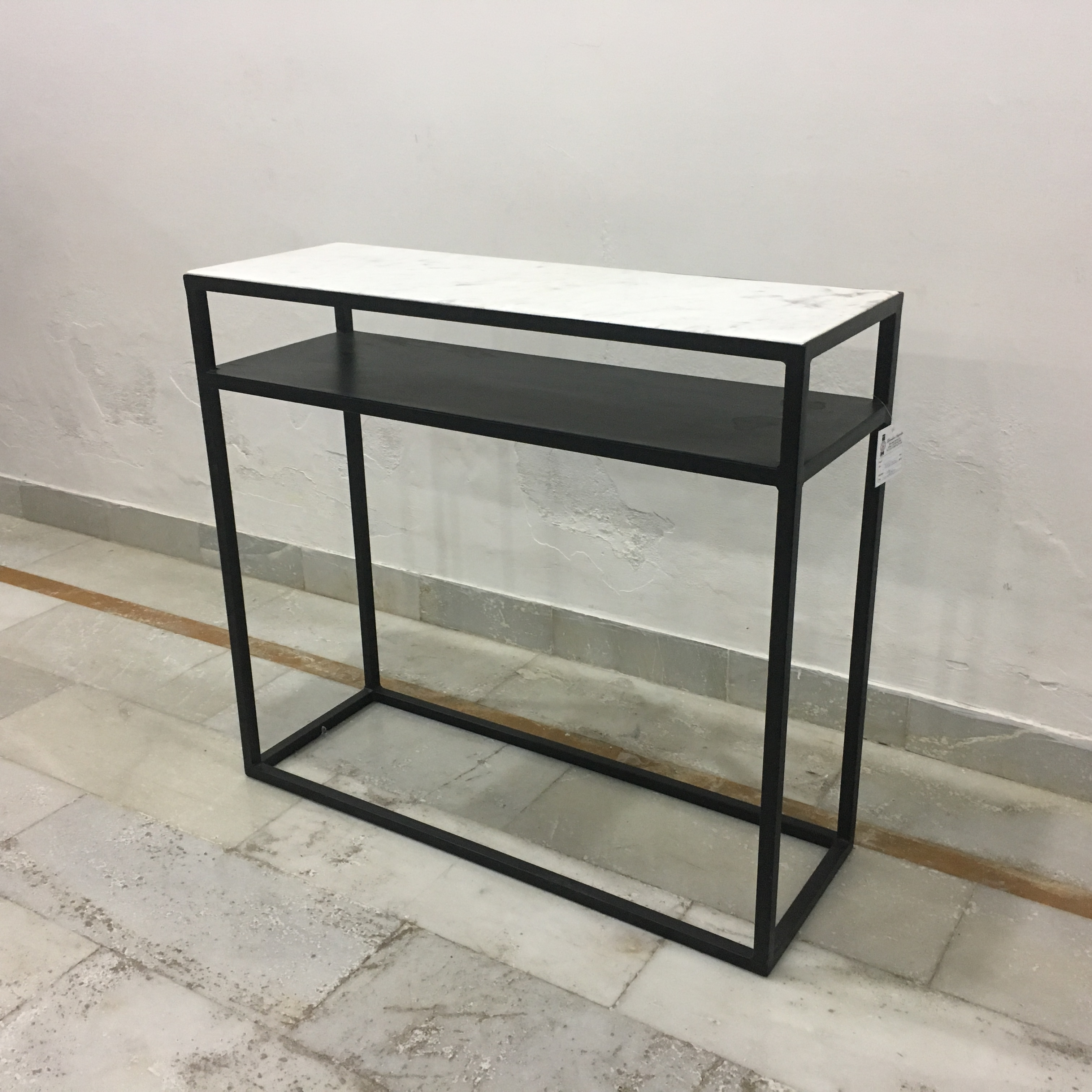 Iron console table with marble top nadeau nashville iron console table with marble top geotapseo Choice Image