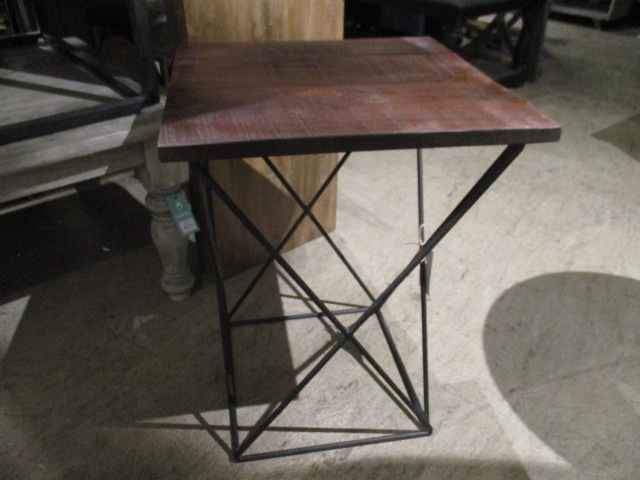 Iron and wood side table nadeau raleigh for Iron and wood side table