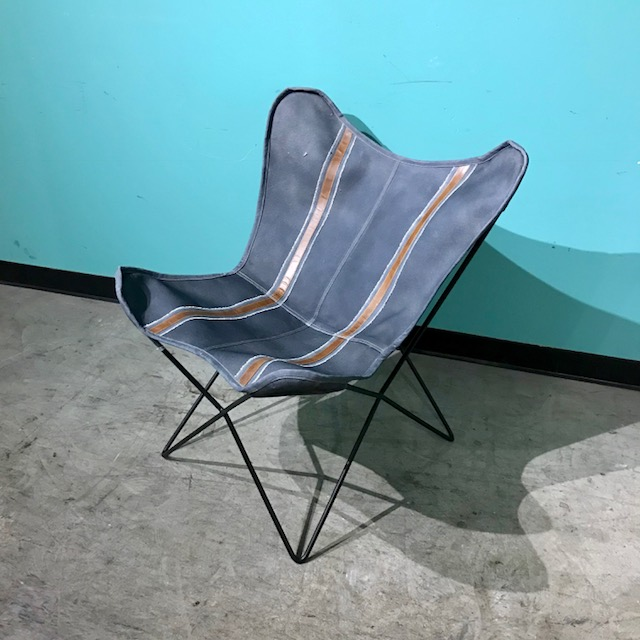 Leather And Canvas Butterfly Chair Nadeau Raleigh