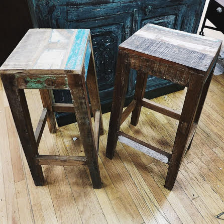 reclaimed wood stool nadeau birmingham