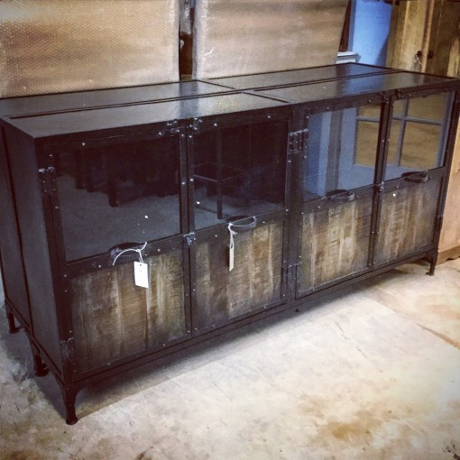 Metal And Wood Buffet With Glass Doors Nadeau Austin