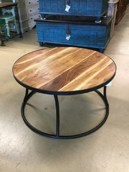 Round Coffee Table Iron And Wood Nadeau Austin
