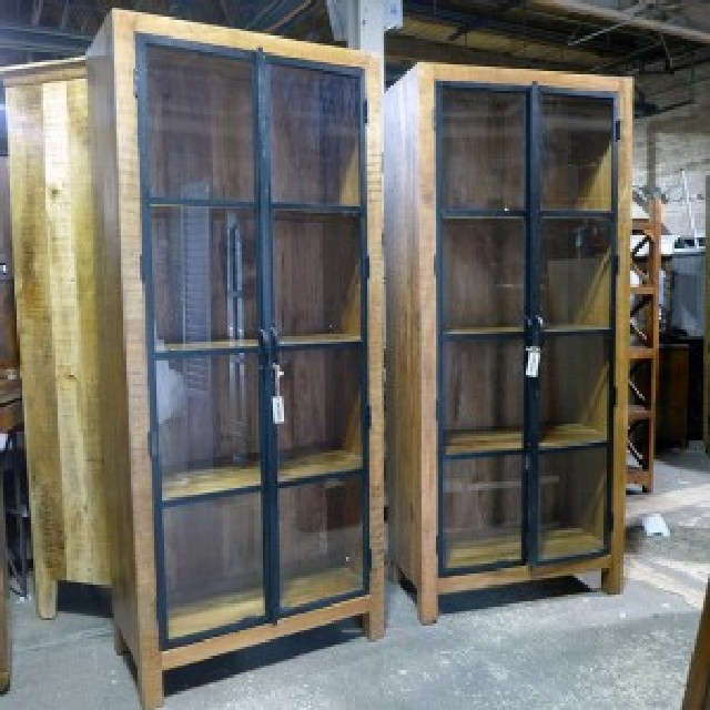 Metal And Wood Cabinet With Glass Doors