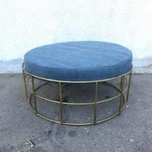 Round Iron Stool With Cushion