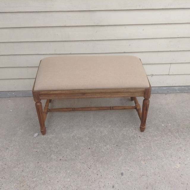 Small Upholstered Bench With Fluted Legs Nadeau New Orleans