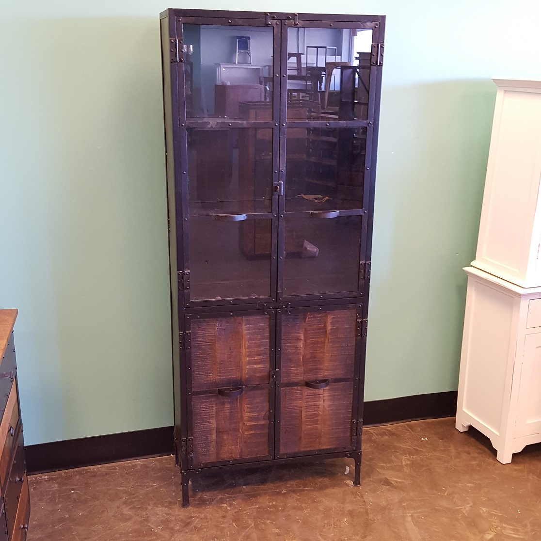 metal and wood cabinet with glass doors - Cabinet With Glass Doors