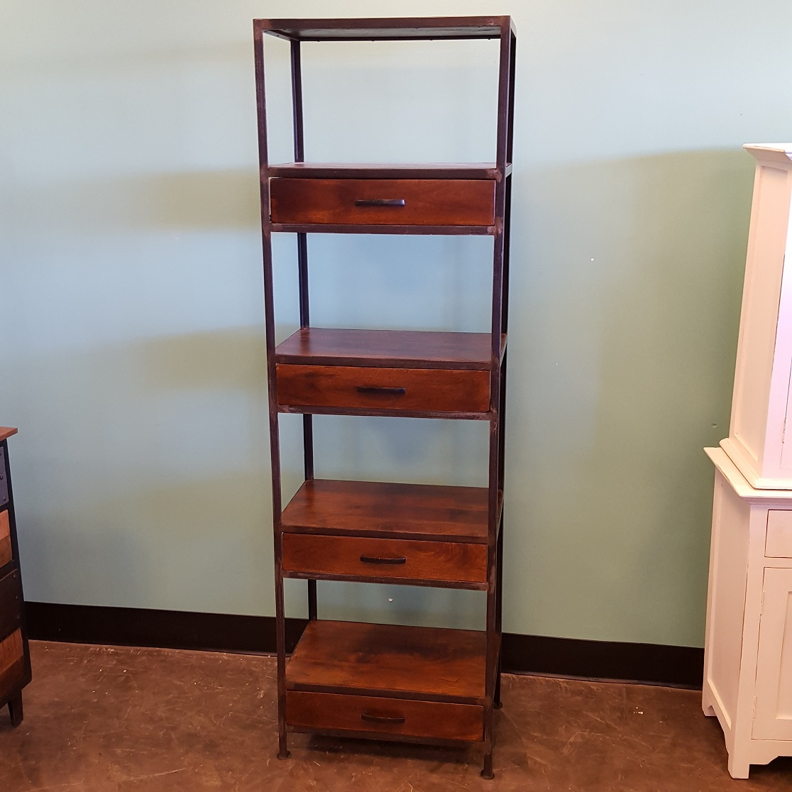 Very Impressive portraiture of Iron and Wood Bookcase with Four Drawers Nadeau Memphis with #733823 color and 1116x1116 pixels