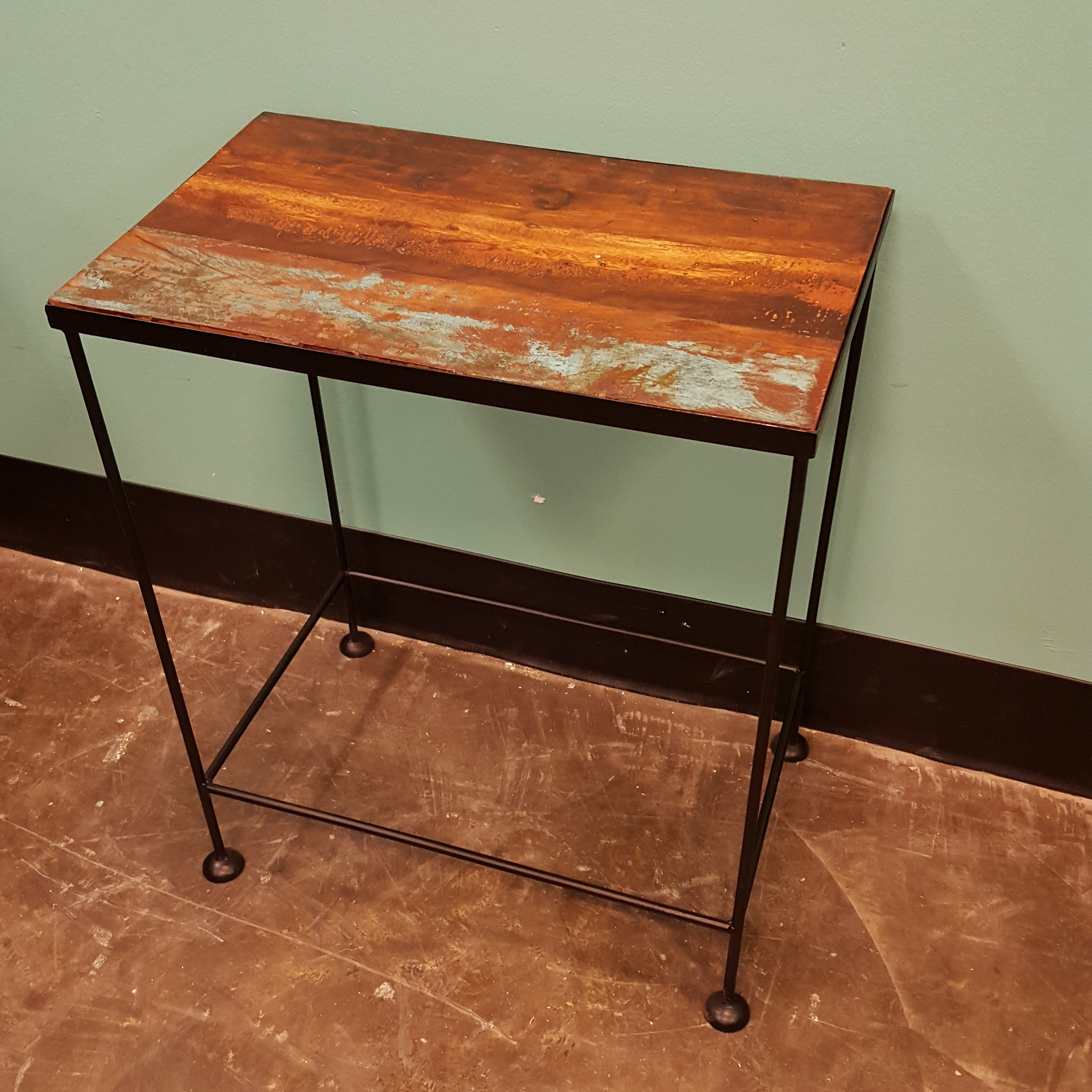 Iron and wood side table nadeau memphis for Iron and wood side table