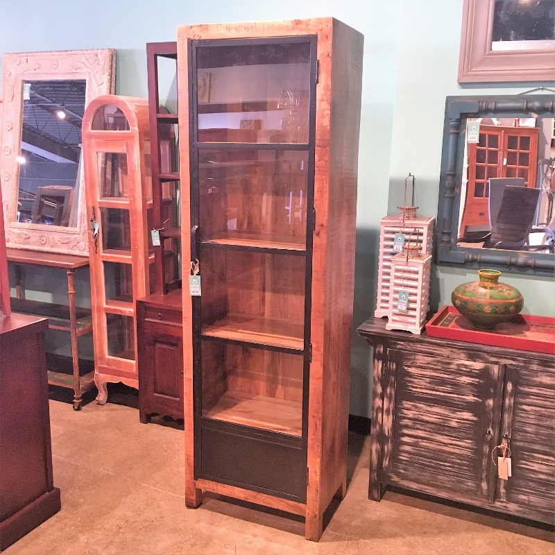 Metal And Wood Cabinet With Single Glass Door Nadeau Cincinnati