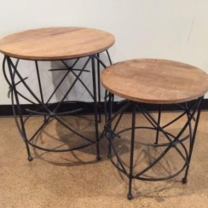 KA608 Round iron table big with wooden top (set of 2) $211
