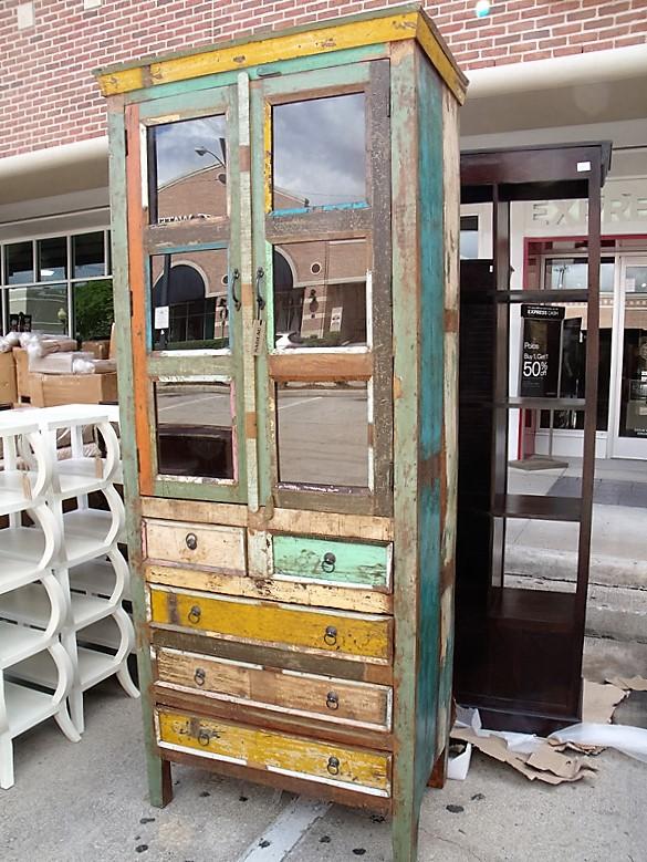 Tall Reclaimed Wood Display Cabinet with Drawers - Tall Reclaimed Wood Display Cabinet With Drawers - Nadeau Cincinnati